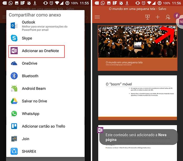 Escolha opção Adicionar ao OneNote para anexar arquivos à nota (Foto: Reprodução/Elson de Souza)