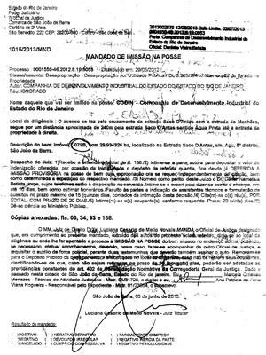Imissão de posse feita pela Codin ns terras da família Toledo; réu consta como ignorado (Foto: Divulgação/ LXX)