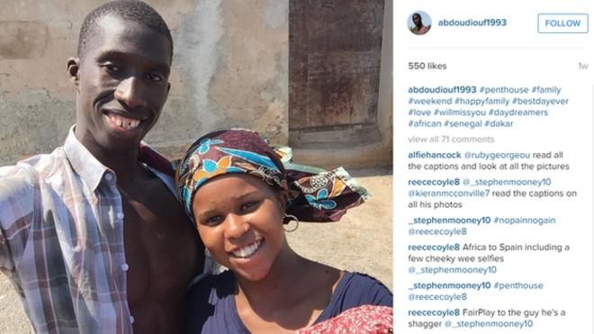 """Imagens documentavam suposta jornada de imigrante africano até a Espanha, desde a """"despedida"""" de sua família  (Foto: BBC)"""