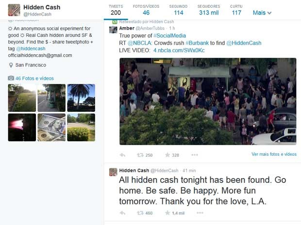 Conta de @hiddencash no Twitter dá pista sobre dinheiro escondido enquanto ganhadores postam descobertas.  (Foto: @hiddencash)