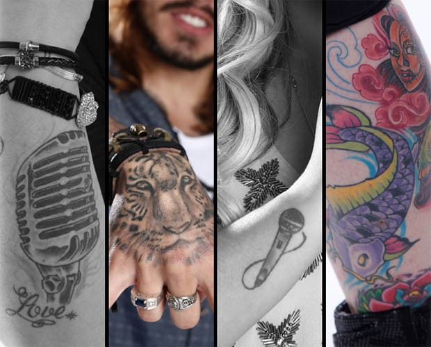 Tatuagens da Twyla (esq.), Kim Lírio, Kall Medrado e Twyla de novo (Foto: The Voice Brasil)