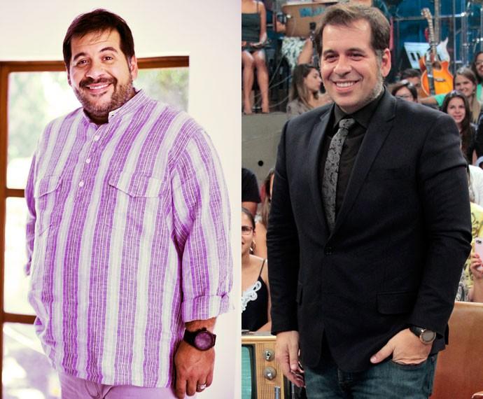 Confira o antes e depois de Leandro Hassum (Foto: TV Globo/João Miguel Júnior e Marcos Mazini/Gshow)