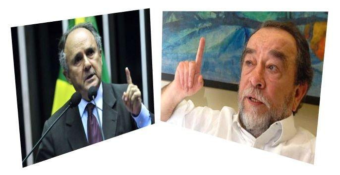 Senador Cristovam Buarque e o escritor Fernando Morais (Foto: Montagem Blog do Noblat)