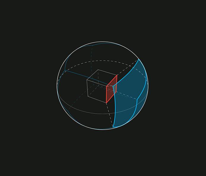 Diagrama explica a ideia do cubo, com cada face contendo imagem do vídeo, e a esfera que delimita os limites e ângulos pelos quais o usuário pode explorar o conteúdo (Foto: Divulgação/Facebook)