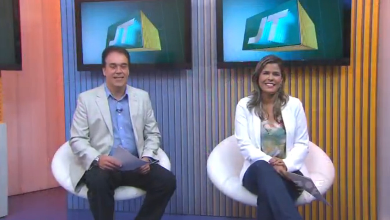 Tony Lamers e Nina Barbosa no Jornal da Tribuna (Foto: Reprodução/TV Tribuna)