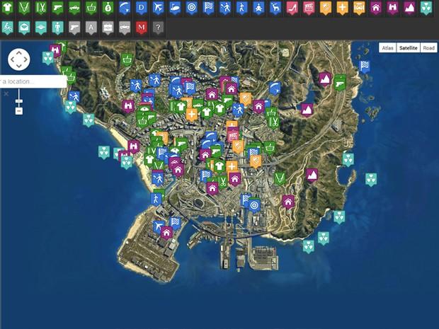 Site mostra mapa inteiro de GTA V e destaca segredos e pontos de interesse (Foto: Reprodução/gta-5-map.com)