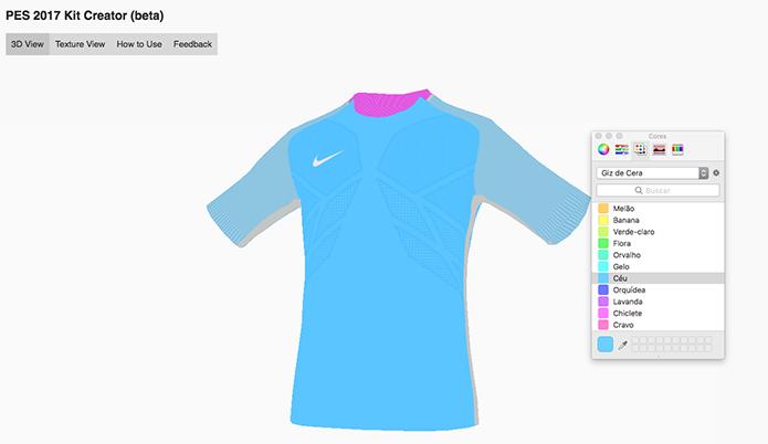 Escolha as cores para sua camisa do PES 2017 (Foto  Reprodução Murilo Molina b87df41efbf82