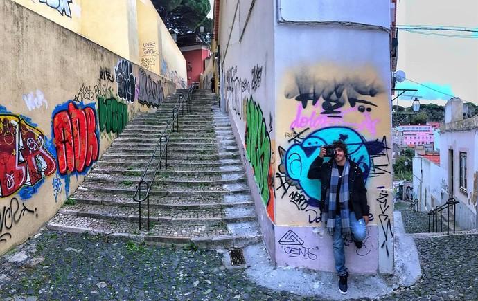 Caio nas ruas de Lisboa (Foto: arquivo pessoal)