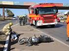 Piloto e passageira de moto ficam feridos em acidente na Epia, no DF