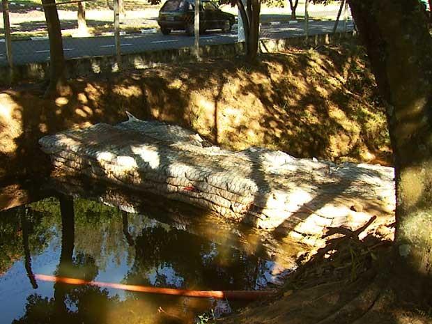 DAE de Valinhos (SP) faz barricada em córrego para represar água para barragem na cidade (Foto: Reprodução EPTV)