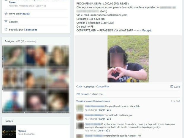 Pai de jovem assassinado recebe apoio de internautas de outros estados (Foto:  Reprodução/Facebook)