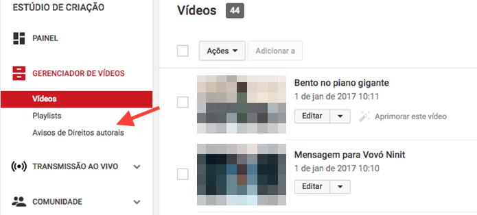 Opção para reconhecer se algum vídeo de um canal do YouTube contém músicas protegidas por direitos autorais (Foto: Reprodução/Marvin Costa)