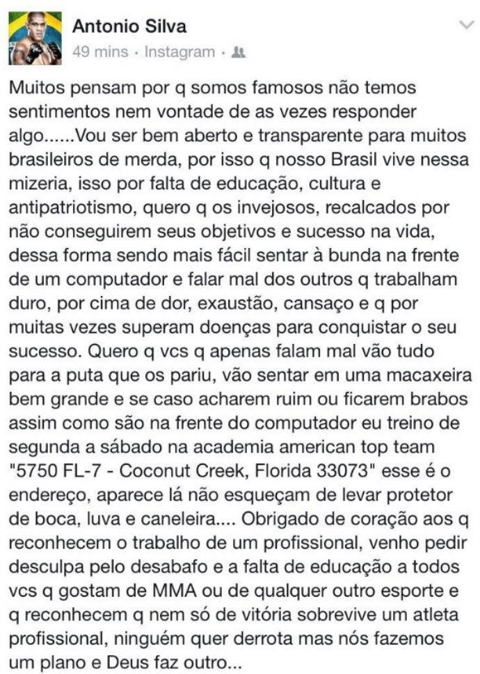 BLOG: Antônio Pezão desabafa nas redes sociais e desafia críticos a lutarem contra ele