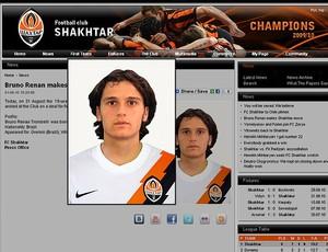 Bruno Renan no site do Shakhtar (Foto: Reprodução)
