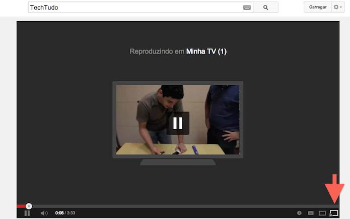 Clicando no ícone Jogue para a TV para emparelhar vídeos do YouTube com Smart TVs (Foto: Reprodução/Marvin Costa)