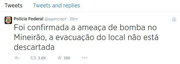 Mensagem publicada no Twitter da PF que, segundo o Planalto, é falsa (Foto: Reprodução)
