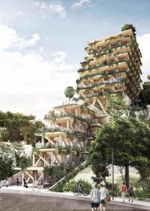 São Paulo ganhará edifício totalmente construído em madeira certificada (Foto: Divulgação)
