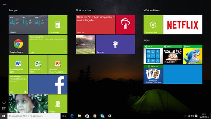 Windows 10 pode ter menu Iniciar aberto em tela cheia pelo usuário (Foto: Reprodução/Elson de Souza)
