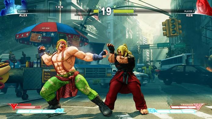 Street Fighter 5: Alex se prepara para mandar um clothesline no seu V-Trigger (Divulgação/Capcom)