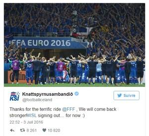 Tweet da federação islandesa de futebol depois da eliminação da Eurocopa (Foto: Reprodução Twitter)