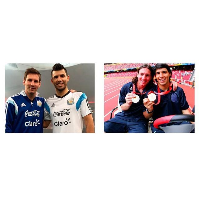 Agüero e Messi nas Olimpíadas de Pequim (Foto: Reprodução/ Instagram)
