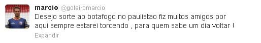 Goleiro já se despediu dos torcedores via Twitter (Foto: Reprodução / Twitter)