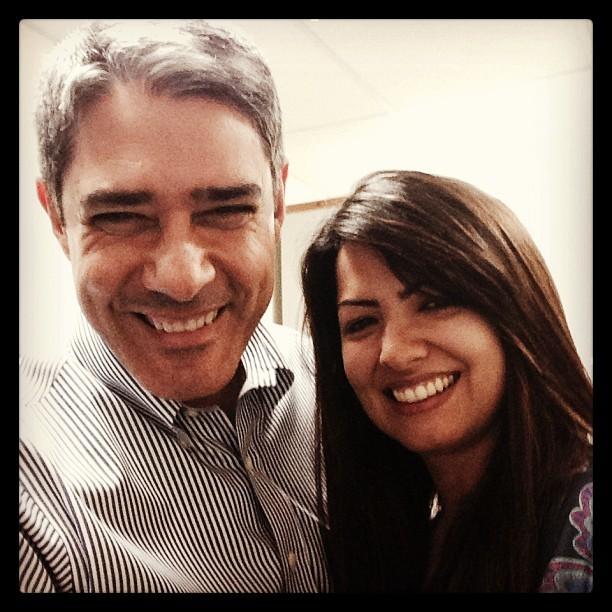 Wiliam Bonner com sósia de Patricia Poeta (Foto: Reprodução/Instagram)