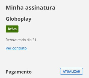 Atualizar forma pagamento Globoplay (Foto: Globoplay)