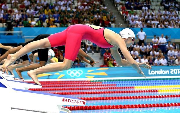Graciele Herman na prova dos 50m livre em Londres natação (Foto: Satiro Sodré / Agif)