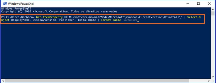 Digite o comando no Windows PowerShell para gerar a lista de programas (Foto: Reprodução/Barbara Mannara)