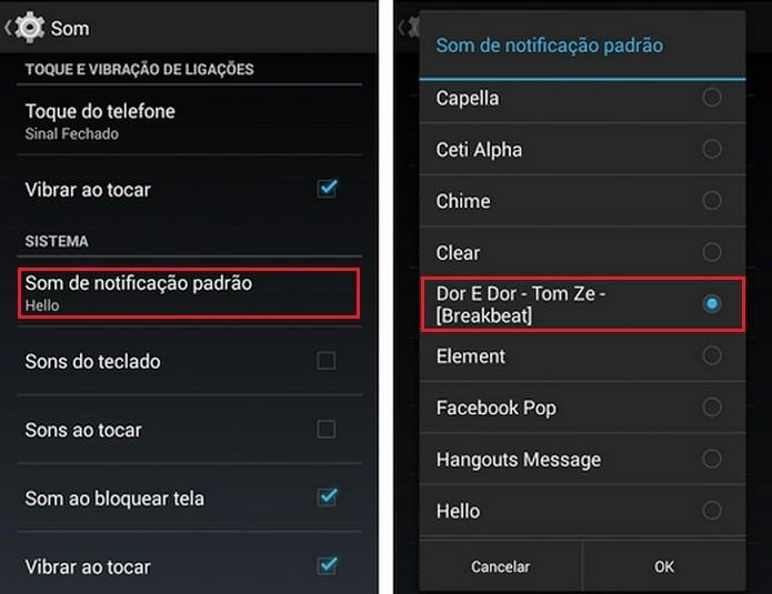 Destaques para opções que alteram o toque de notificação no Android (Foto: Reprodução/Raquel Freire)