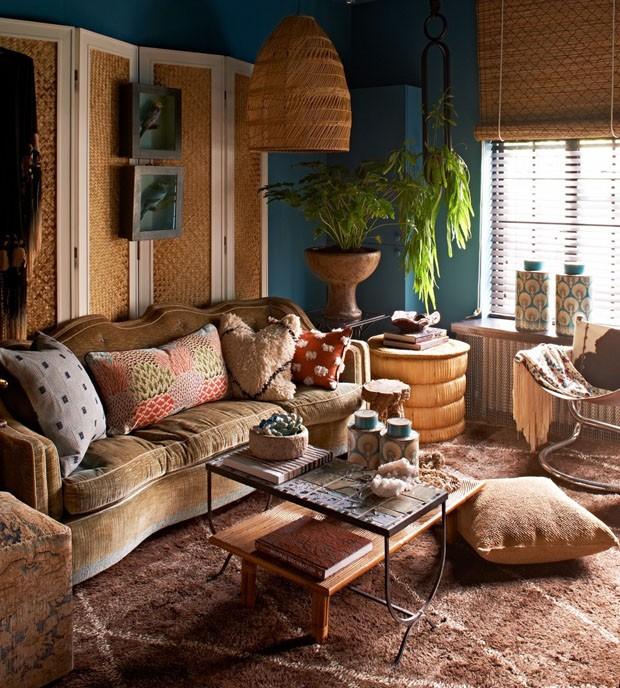 Décor do dia: sala de estar boho, vintage e rústica (Foto: reprodução)