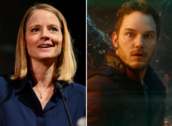 A atriz Jodie Foster e o ator Chris Pratt em Guardiões da Galáxia (Foto: Getty Images/Reprodução)