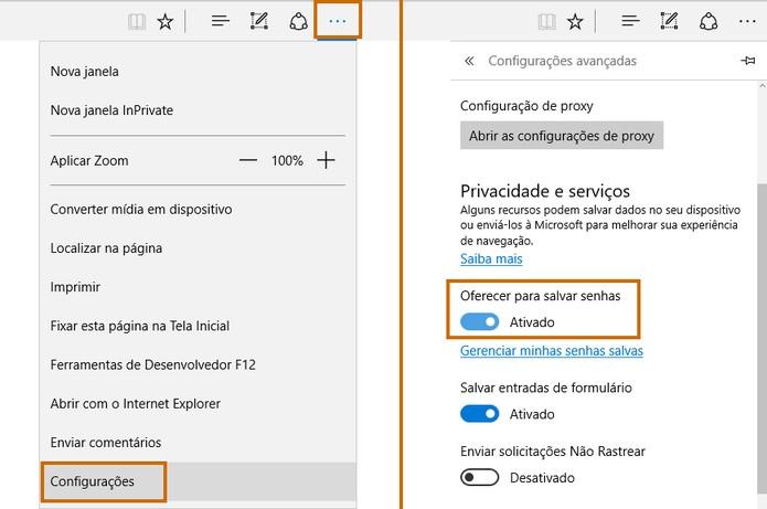 Configure a memorização de senhas no Microsoft Edge (Foto: Reprodução/Barbara Mannara)