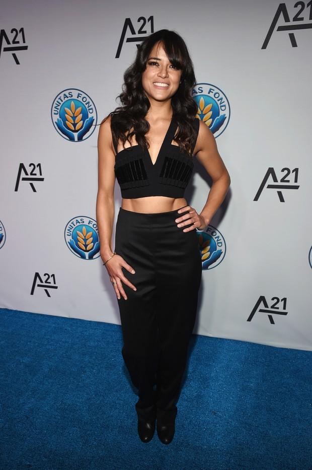 Michelle Rodriguez em evento em Nova York, nos Estados Unidos (Foto: Bryan Bedder/ Getty Images/ AFP)
