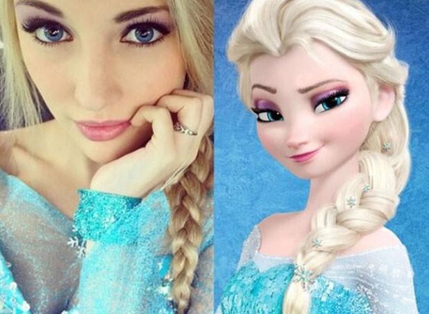 Anna Faith virou hit na web ao postar fotos como 'sósia' da personagem Elsa, em 'Frozen' (Foto: Reprodução/Instagram/annafaithxoxo)