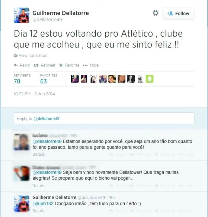 Dellatorre anuncia retorno ao Atlético-PR (Foto: Reprodução/Twitter)