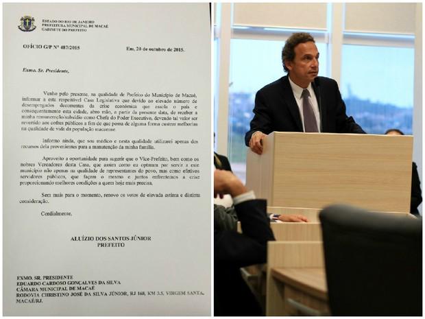 Prefeito de Macaé entregou ofício na sessão da Câmara dos Vereadores (Foto: Juliana Martarello/Inter TV e Tadeu Mouzer/Arquivo Pessoal)