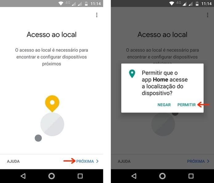 Permissão de acesso à localização do dispositivo pelo app Google Home (Foto: Reprodução/Raquel Freire)