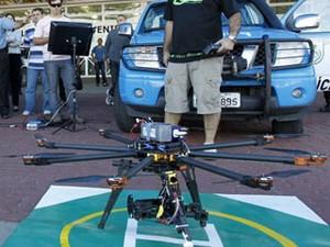 Drone foi usado pela PM do Rio em Macaé (Foto: Shana Reis/Governo do Estado do RJ/divulgação)