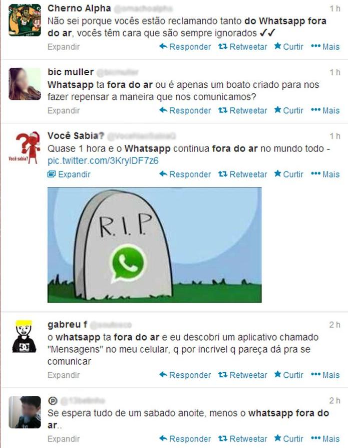 No Twitter, usuários lamentaram, reclamaram e até trolaram o WhatsApp (Foto: Reprodução)