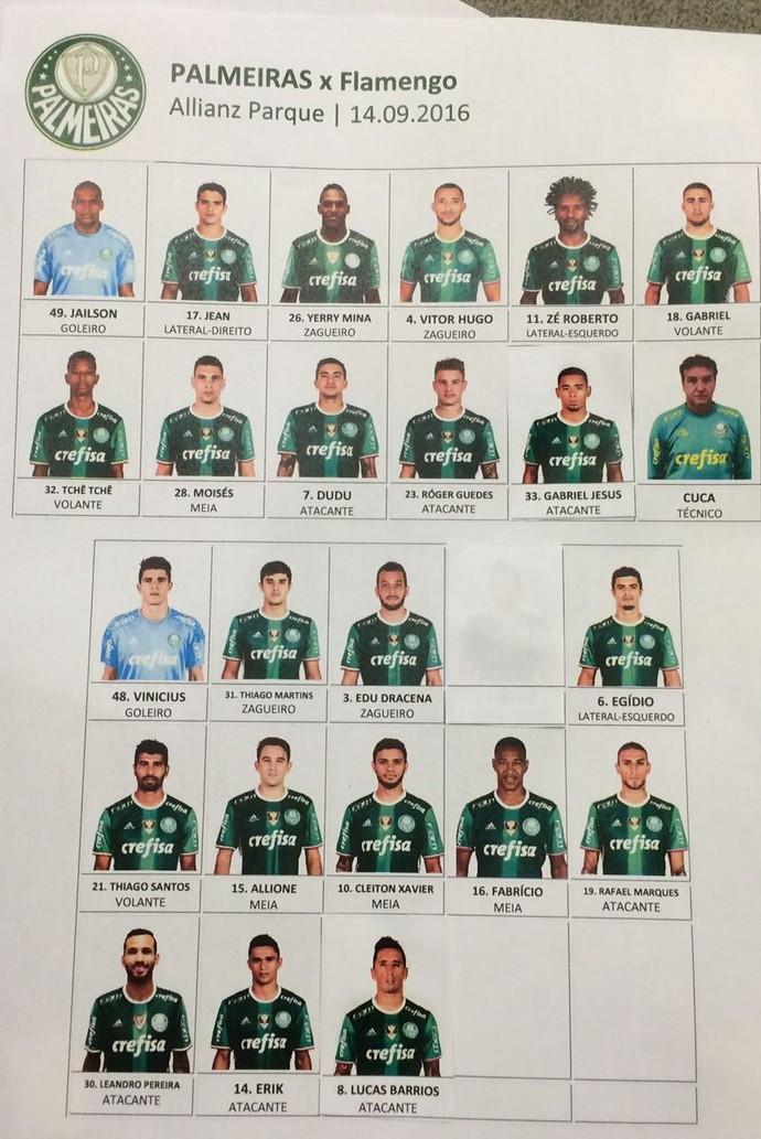 Palmeiras depois divulgou time com colagens, incluindo Jesus entre os titulares (Foto: Reprodução)