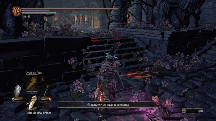 Dark Souls 3: sinal roxo do louco permite entrar na partida como cooperador e invasor (Foto: Reprodução/Victor Teixeira)