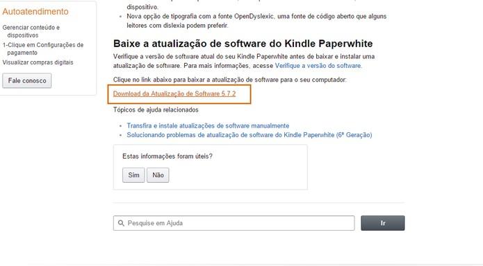 Faça o download do pacote de atualização no site da Amazon (Foto: Reprodução/Barbara Mannara)