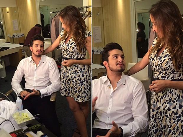 Marcela Monteiro acompanhou a preparação de Luan Santana (Foto: Vídeo Show / Gshow)