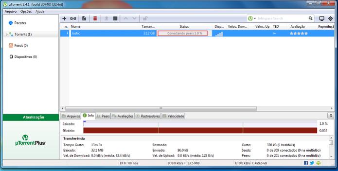 """uTorrent com download parado no status """"Conectando peers"""" (Foto: Reprodução/Edivaldo Brito) (Foto: uTorrent com download parado no status """"Conectando peers"""" (Foto: Reprodução/Edivaldo Brito))"""