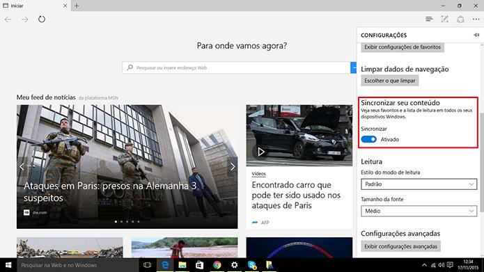 Microsoft Edge pode ser sincronizado com celulares, tablets, computadores e Xbox (Foto: Divulgação/Elson de Souza)