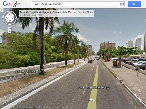 Avenida Epitácio Pessoa pode ser vista pelo Google Street View (Foto: Reprodução/Google Street View)
