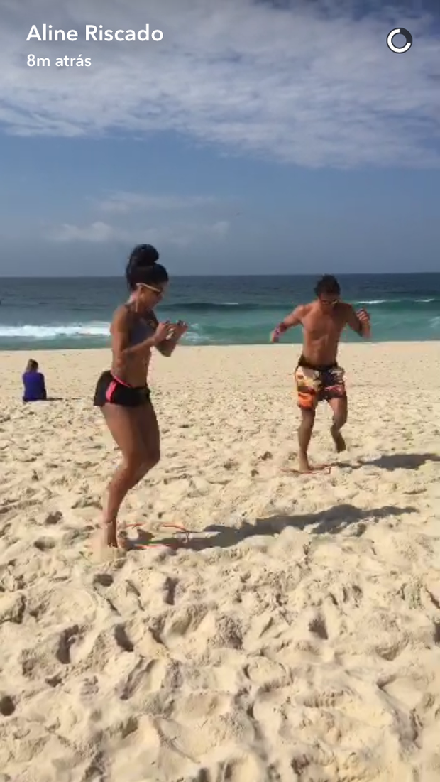 Aline Riscado e Felipe Roque (Foto: Reprodução/ Snapchat)