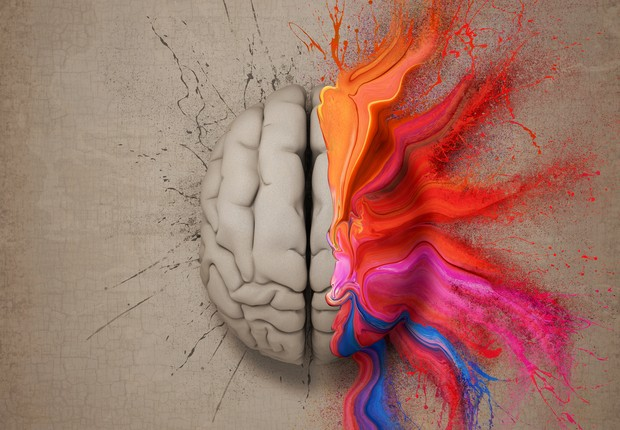 Cérebro colorido com tinta (Foto: Thinkstock)